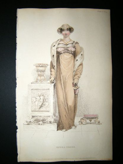 Ackermann 1813 Hand Col Regency Fashion Print. Opera Dress 9-6 | Albion Prints